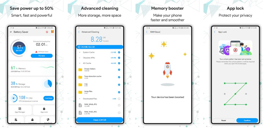 Green Battery Saver Booster Cleaner App Lock min