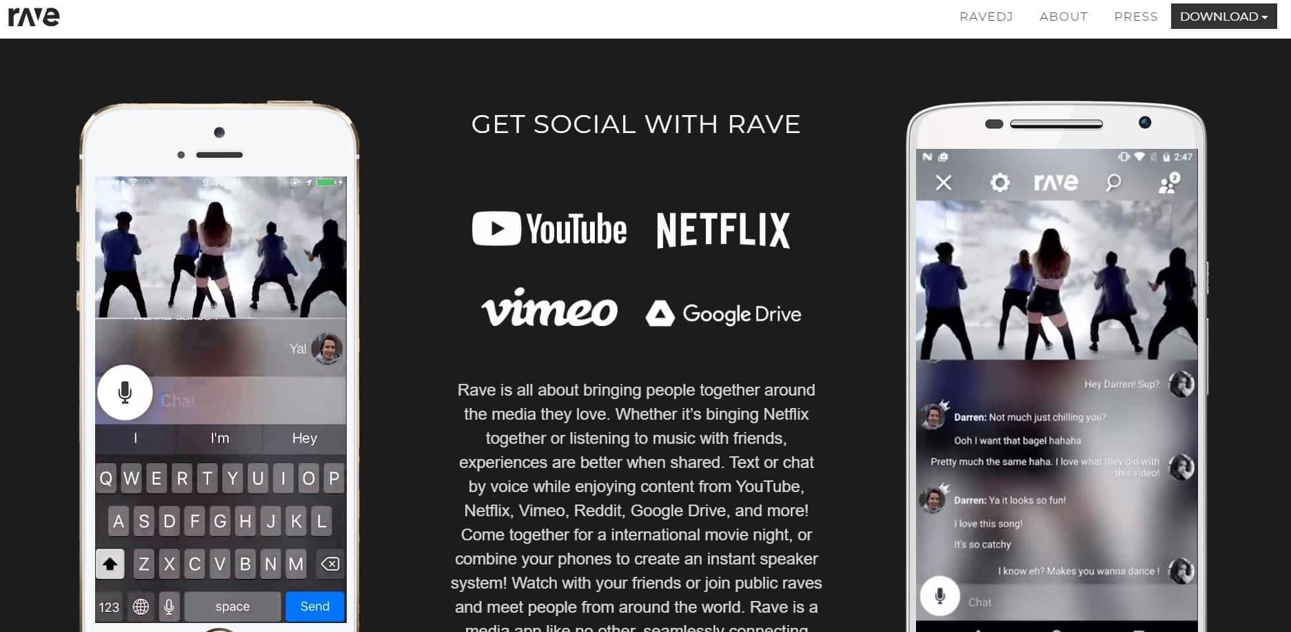 Rave website content streaming platform