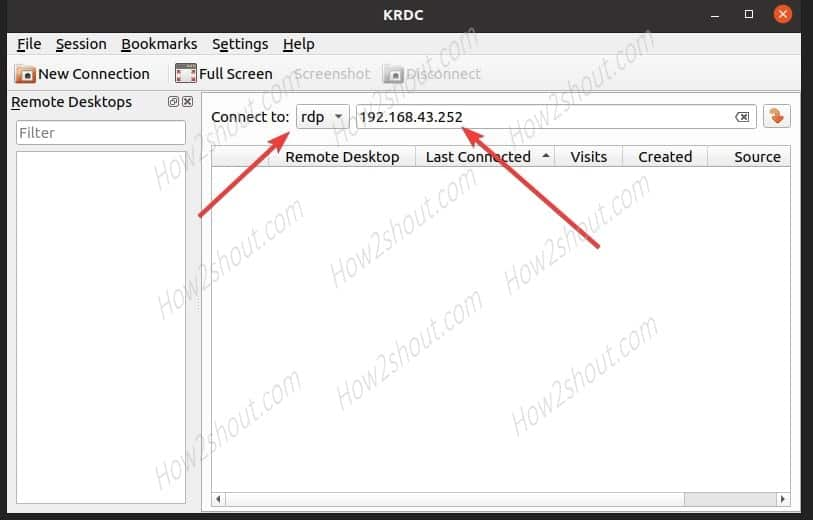 Select RDP protocol and enter IP address in KDE krdc client Ubuntu