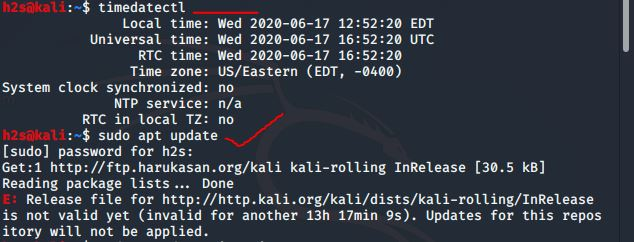 Kali Time sync repository error