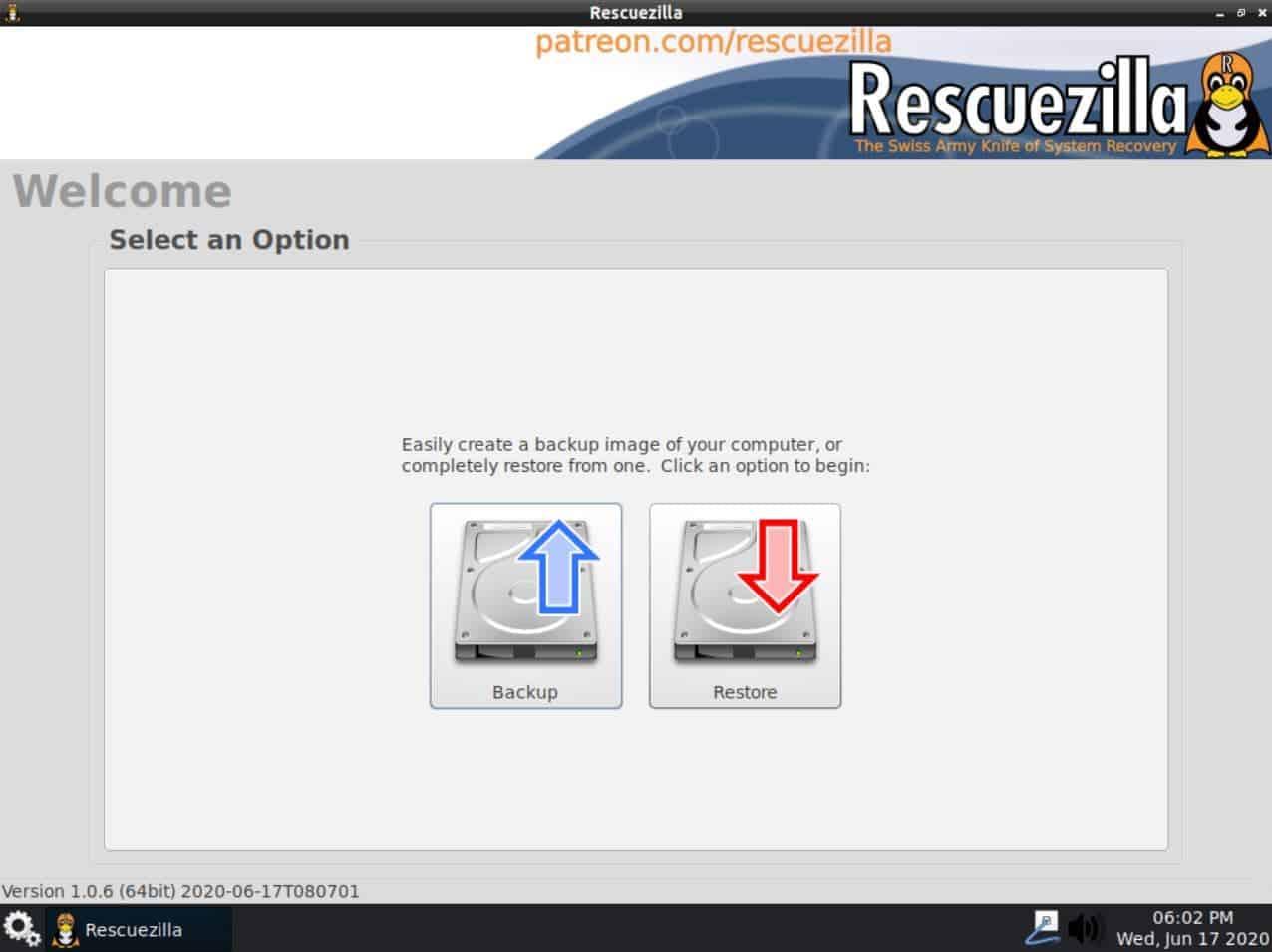 Rescuezilla Data Rescue Linux distro