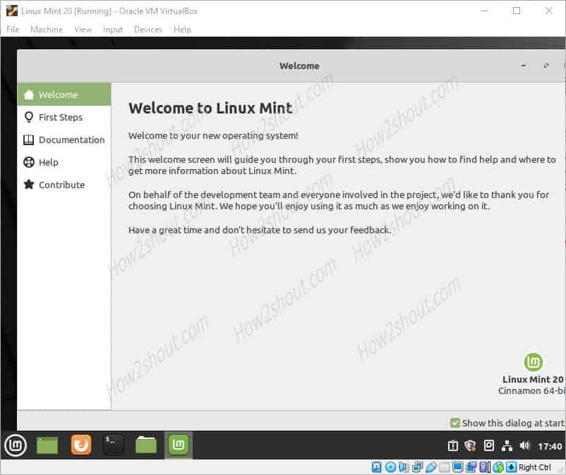 Run Virtualbox linux mint 20 unalaya