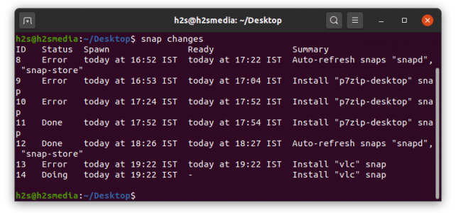 install-snap change in progress