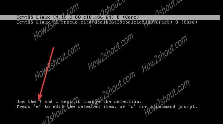 Drop to CetnOS boot Switch root shell