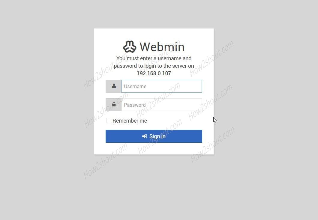 Webmin login screen installed on Ubuntu 20.04 LTS t