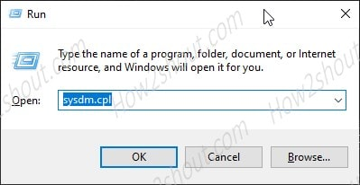 Run command to open Windows system properties