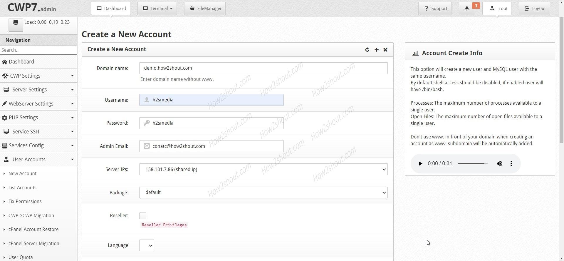 Create Control Web Panel in CWP min
