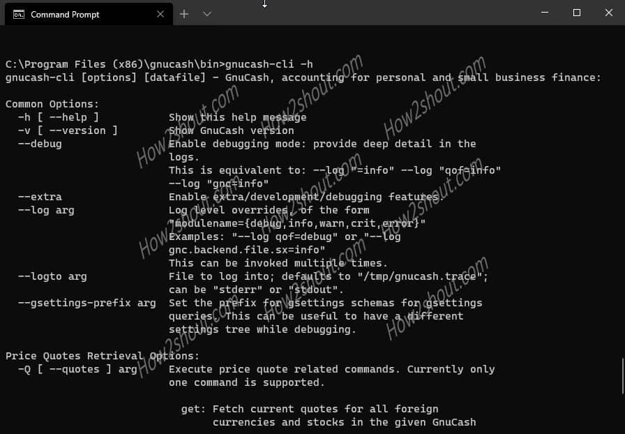 gnucash-cli for command line tasks under Windows
