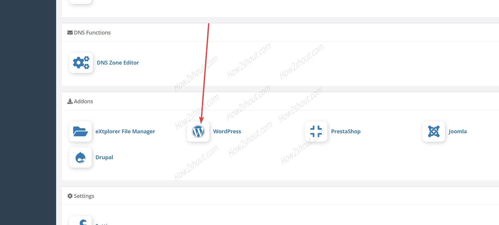Install WordPress Add-on CWP
