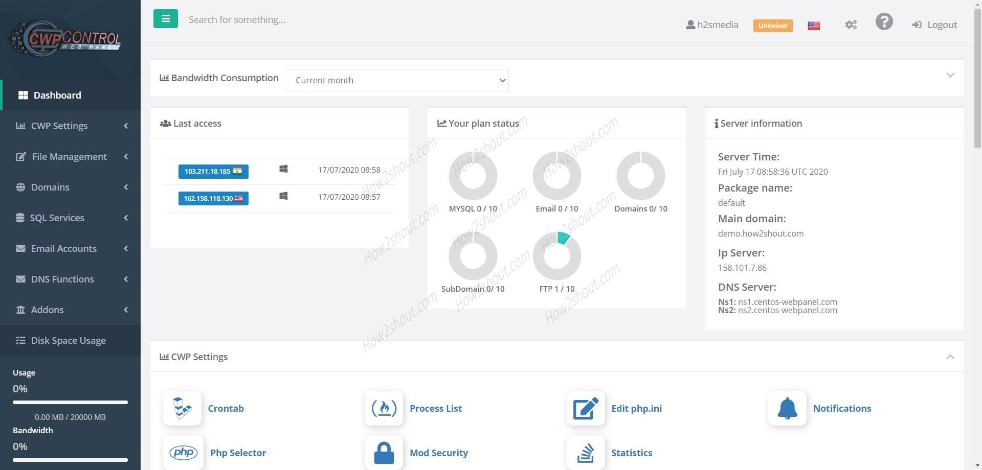CWP Control Webpanel screenshot