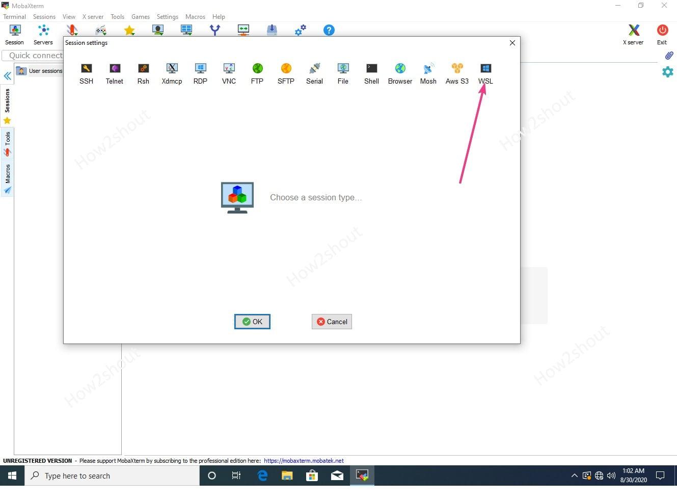 Create Mobaxterm UIbuntu WSL session