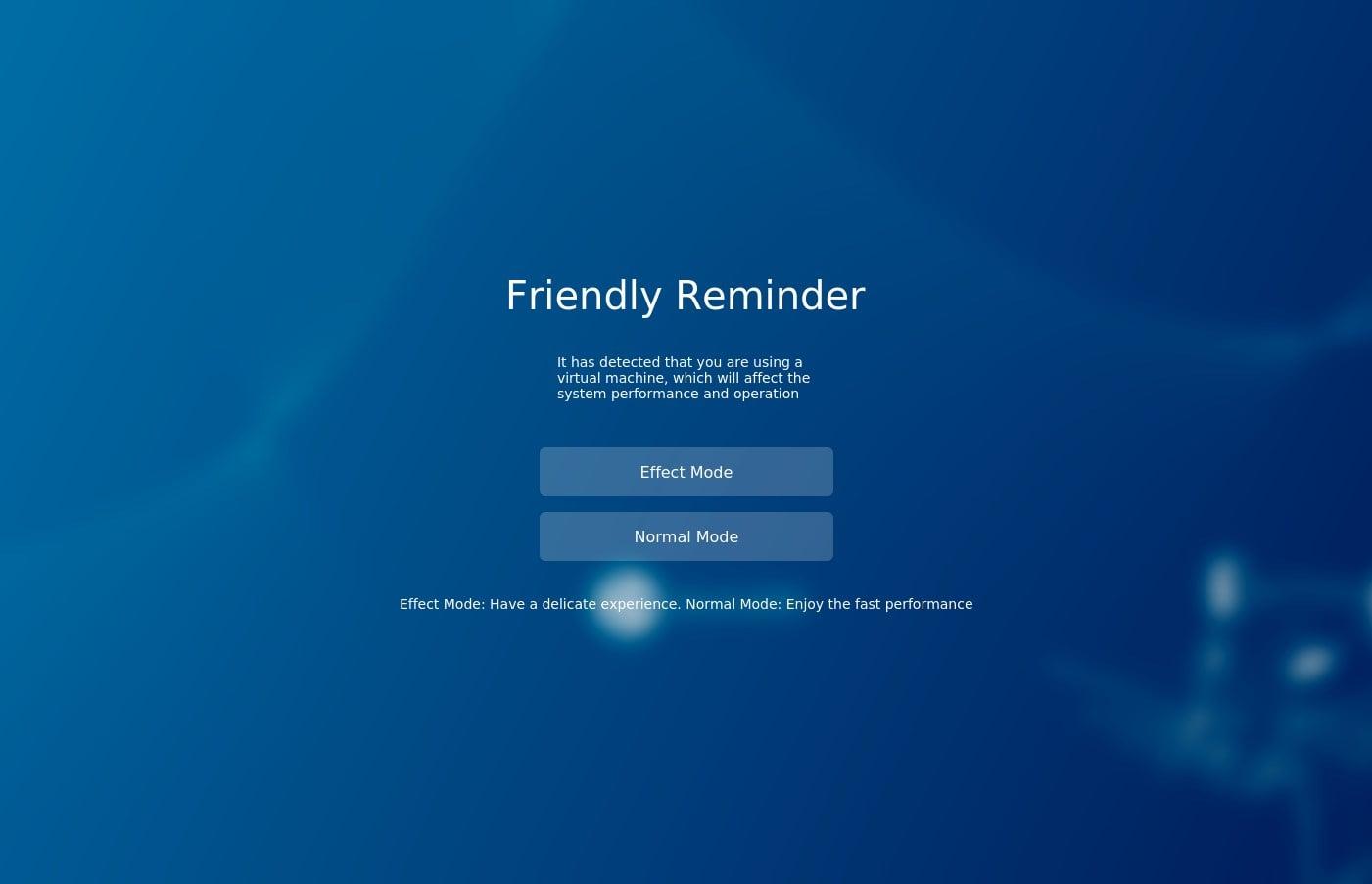 Effect or Normal mode setup of Ubuntu 20.04 Deepin Desktop environment