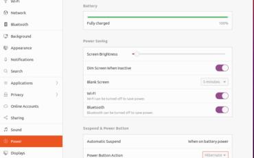Hibernate option in the Ubuntu power menu
