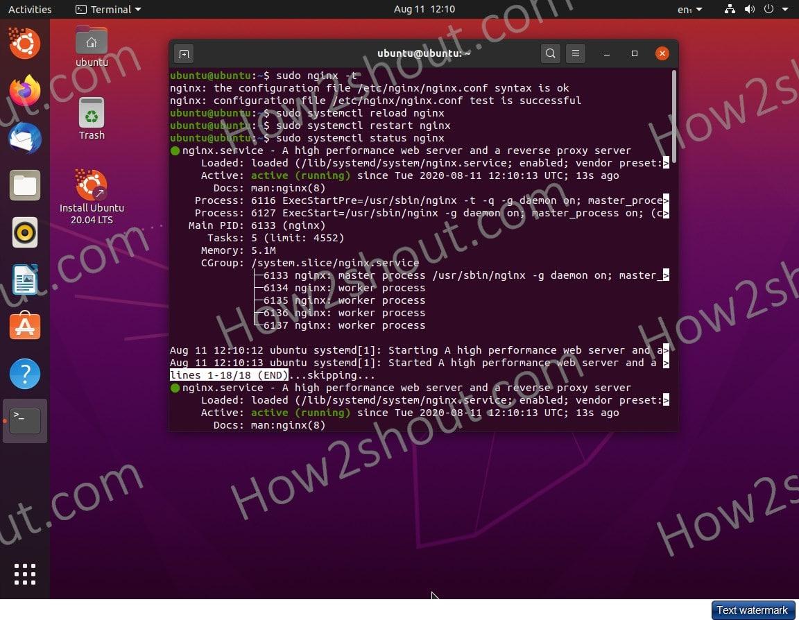 Reload or restart Nginx on Ubuntu 20.04 LTS server