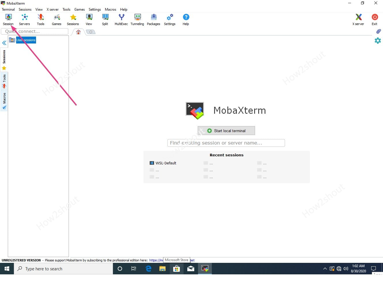 Select MobaXterm session
