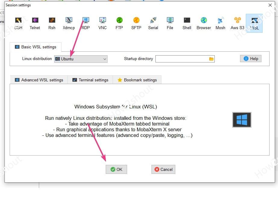Select WSL ubuntu app