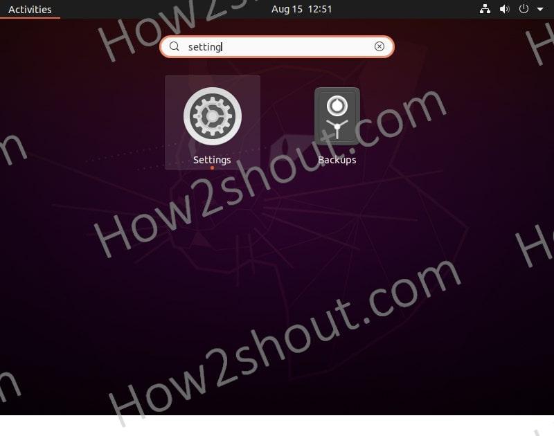 open ubuntu settings