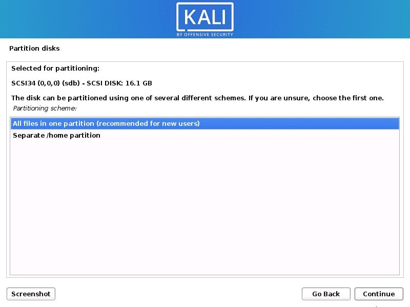 Create USB partition for Kali Linux installation