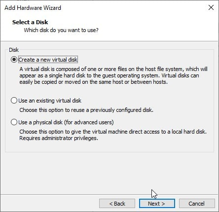 Create a new virtual hard disk
