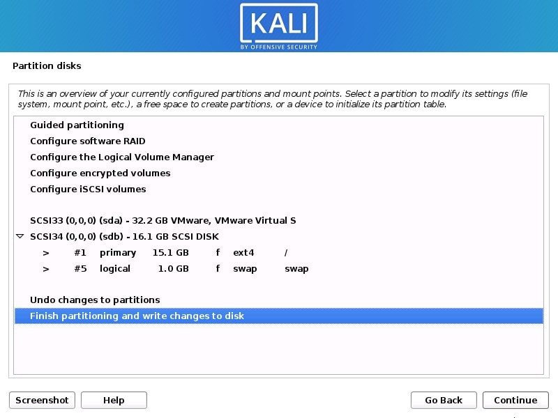 Finish partition of Disk