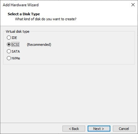 Select Hard disk type for VM