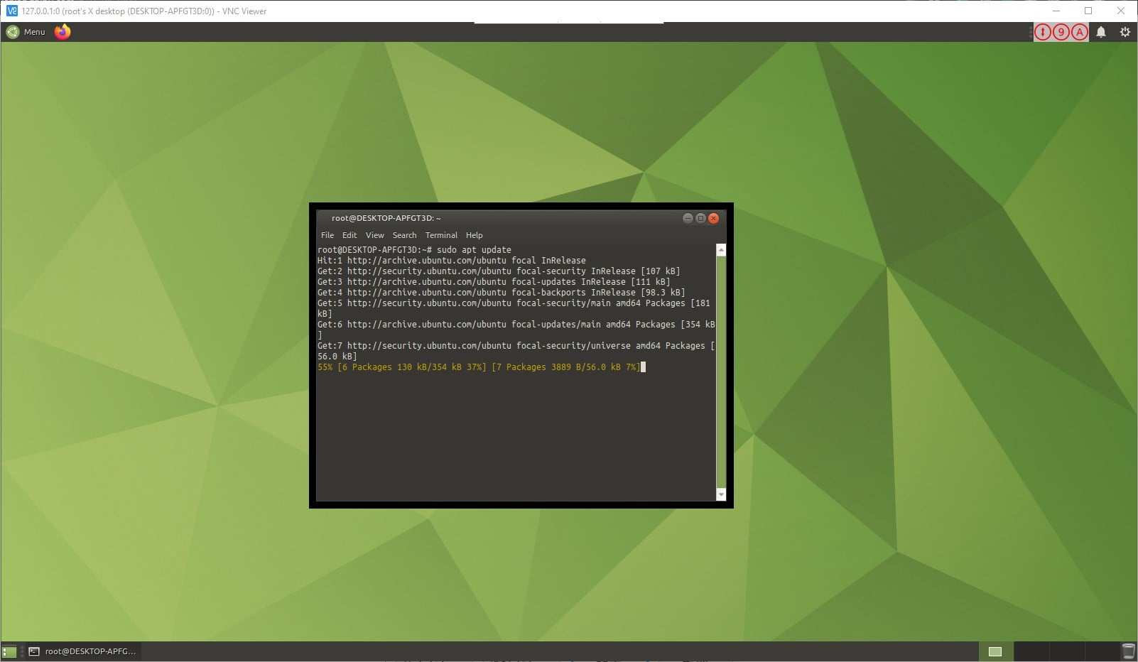 WSL Ubuntu 20.04 GUI desktop running terminal