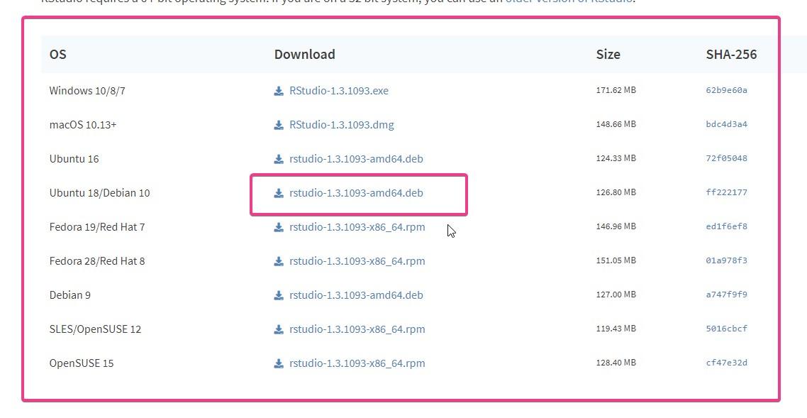 Download Rstudio Debian package on Ubuntu 20.4