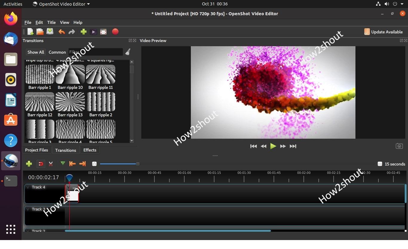 Editing in OpneShot Video Editor on Ubuntu Linux