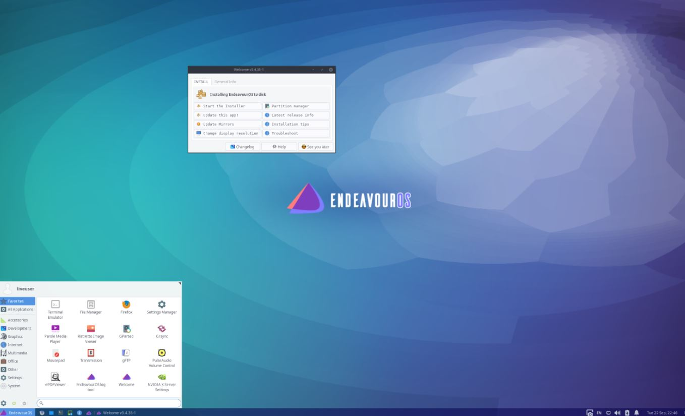 EndeavourOS Linux based on ARCH with GUI screenshot min