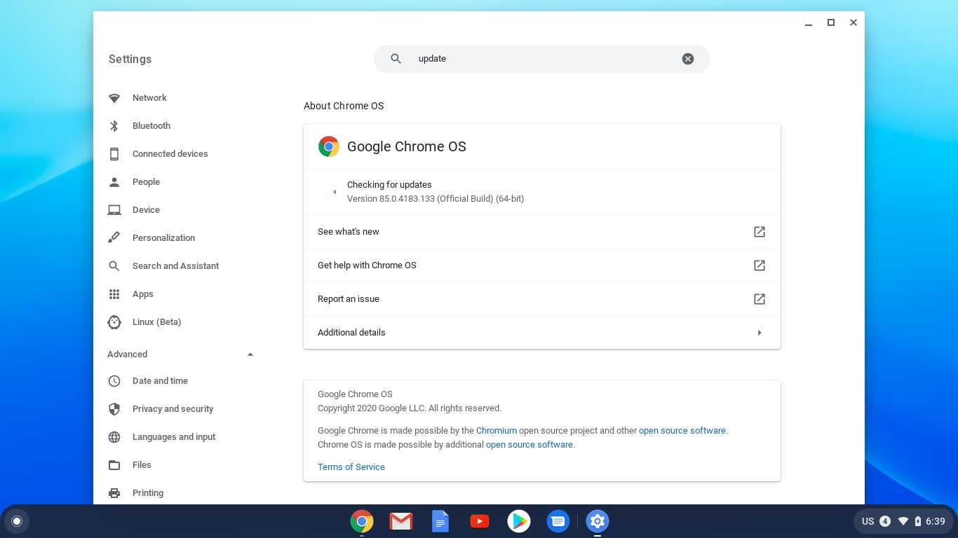 Latest installed version of chromium OS of Google compressed