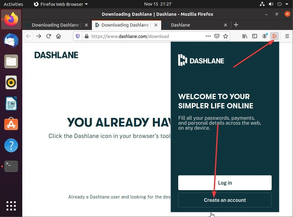 Access Dashboard extension and create an account