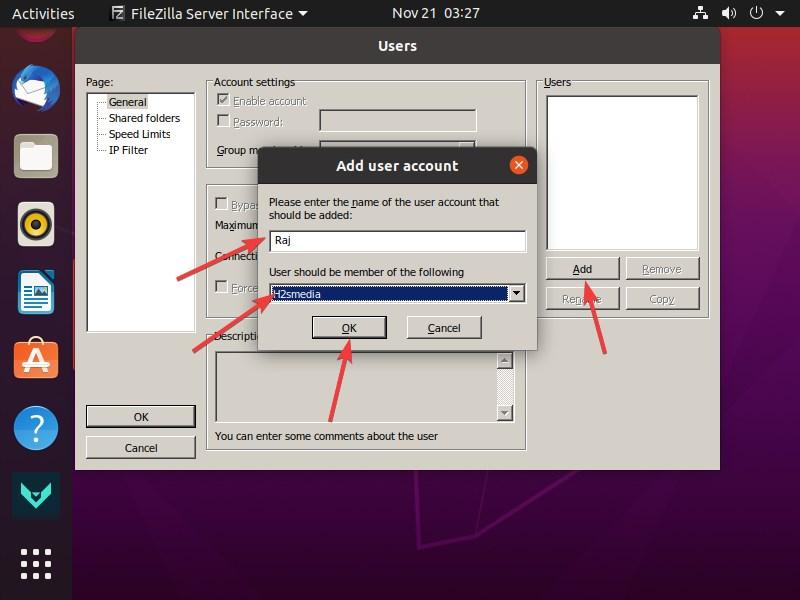 Add FTP user for FileZilla server