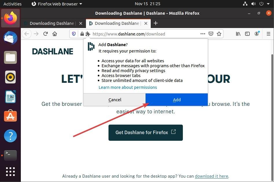 Add Mozilla Dashlane extension