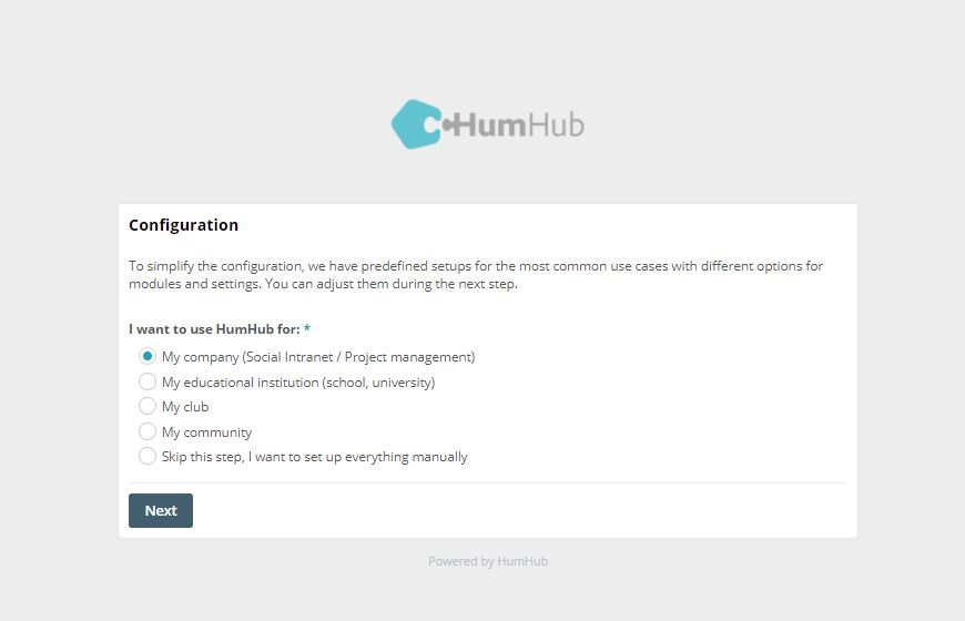 Configuration for HumHub social intranet
