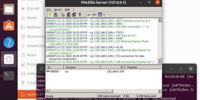 FileZilla server ubuntu Connection established