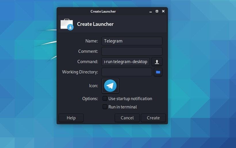 Create Desktop Launcher on Kali Linux