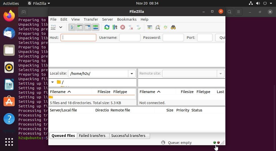 FileZilla installation on Ubuntu 20.04 LTS server