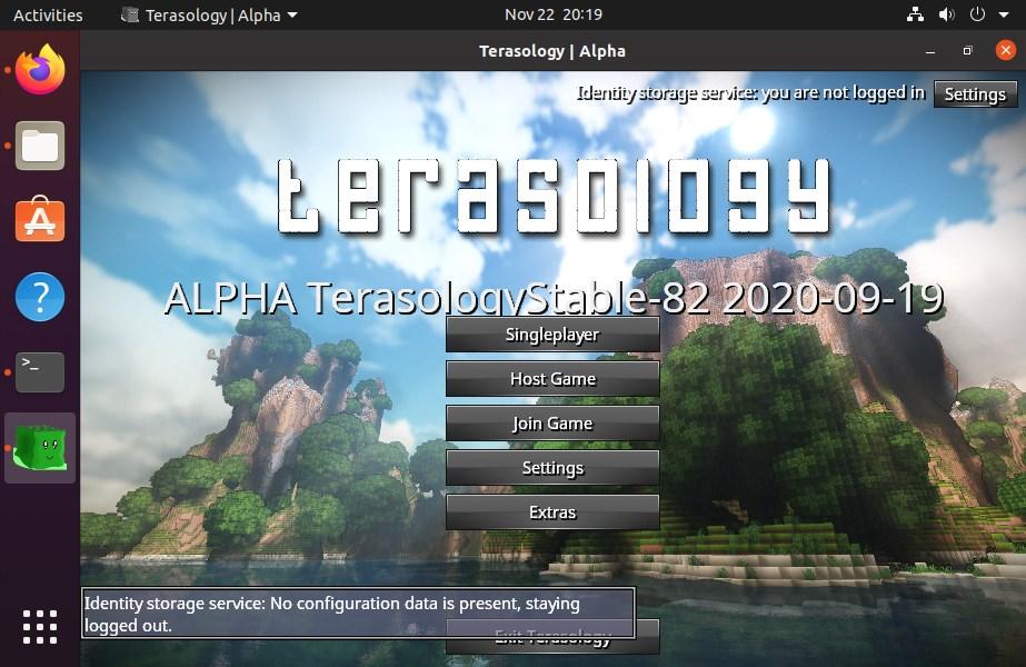 Game start interface Terasology Minecraft on Ubuntu 20.04