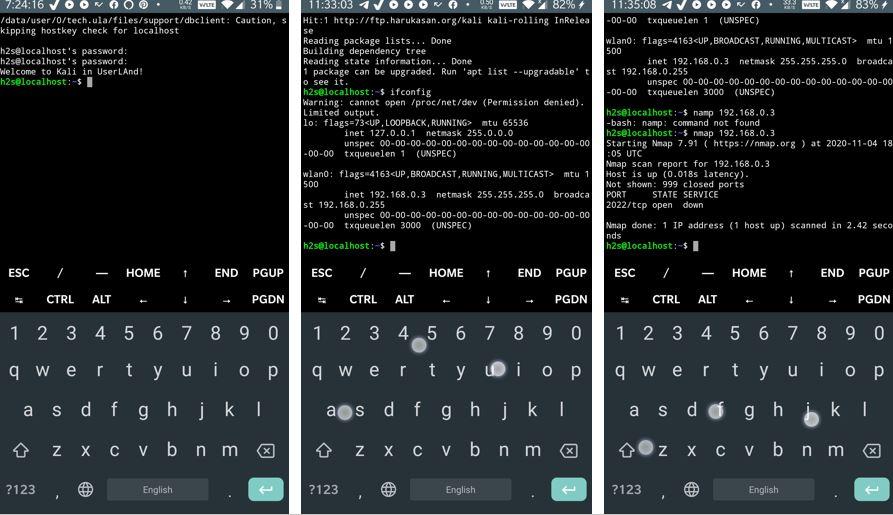 Ligne de commande Kali Linux sur Android