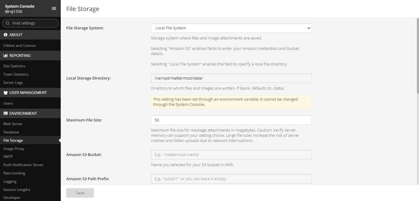 Mattermost opensource chat server FileStorage min
