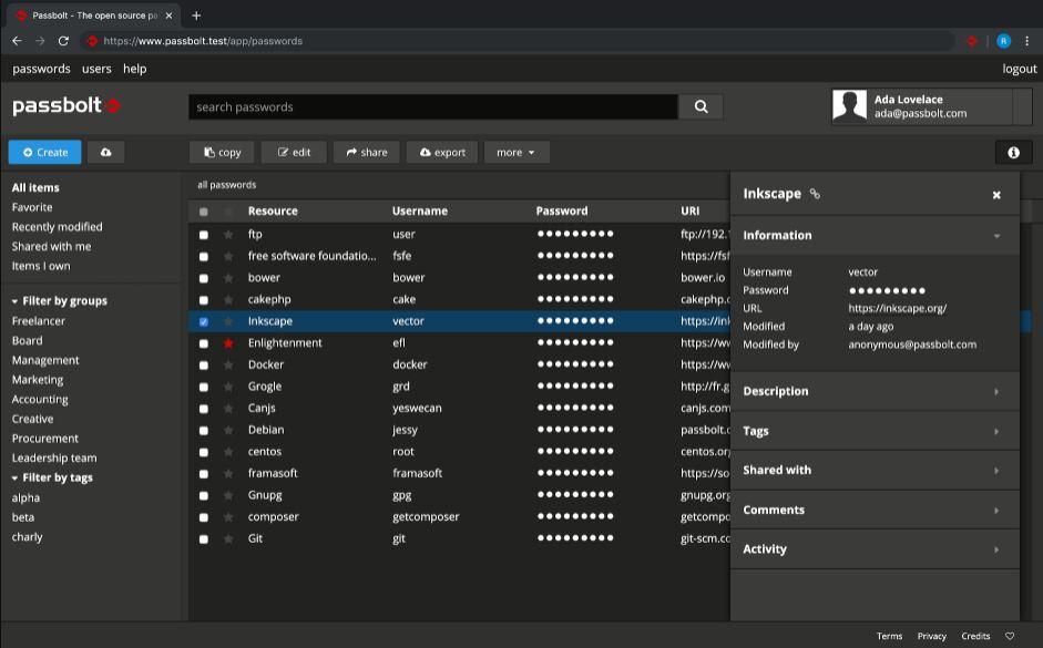 Passbolt opensource password manager github min