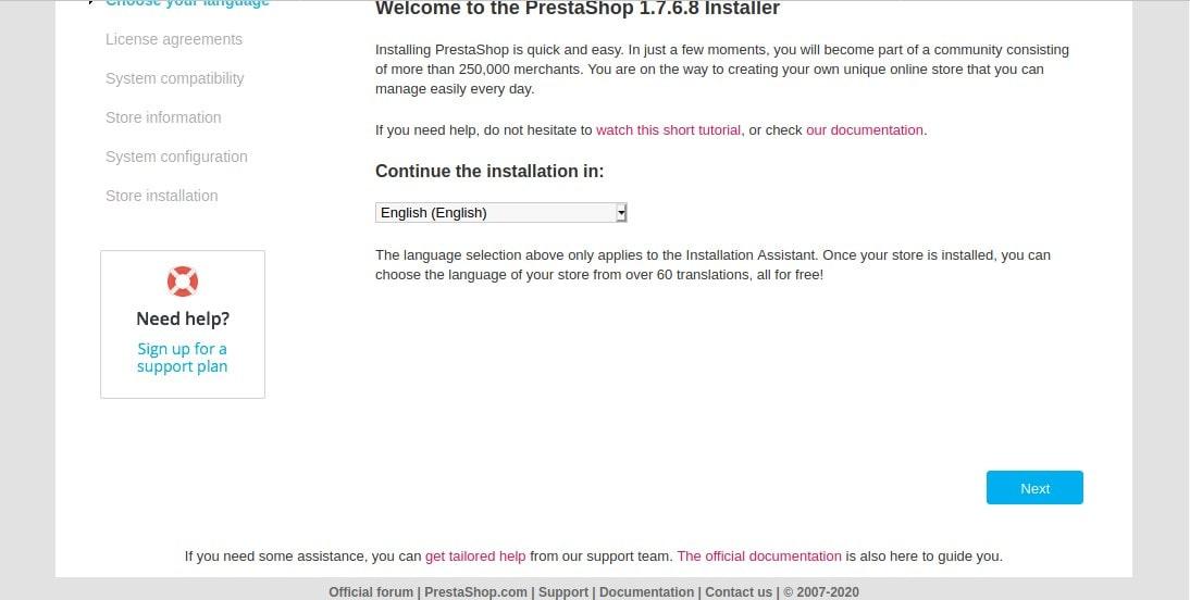 Prestashop Installer