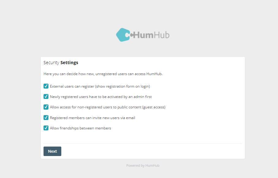 Secuirty Settings HumHub