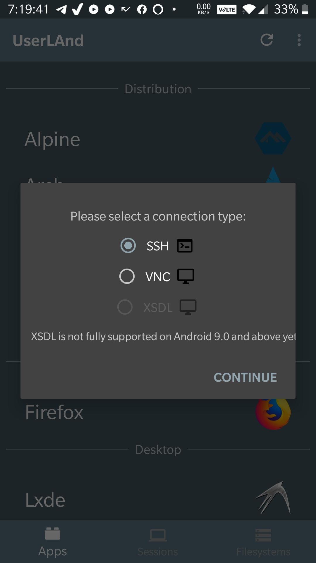 Choisissez la méthode pour connecter Android
