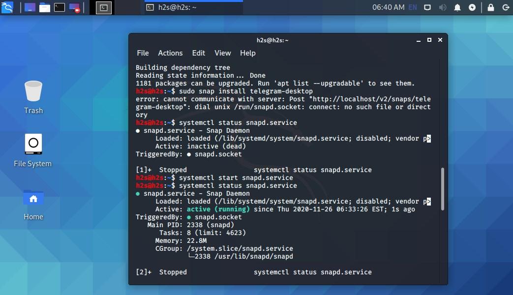 Start SNAPD service on Kali or Ubuntu Linux