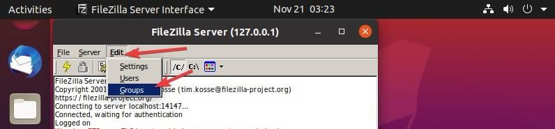 Create FileZilla Groups