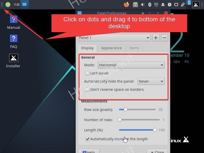 Change Taskbar position in MX Linux min