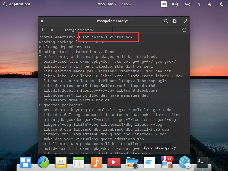 Command to install virtualbox on Elementary OS Linux