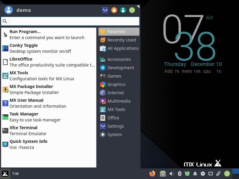 MX Linux horizontal bottom taskbar min