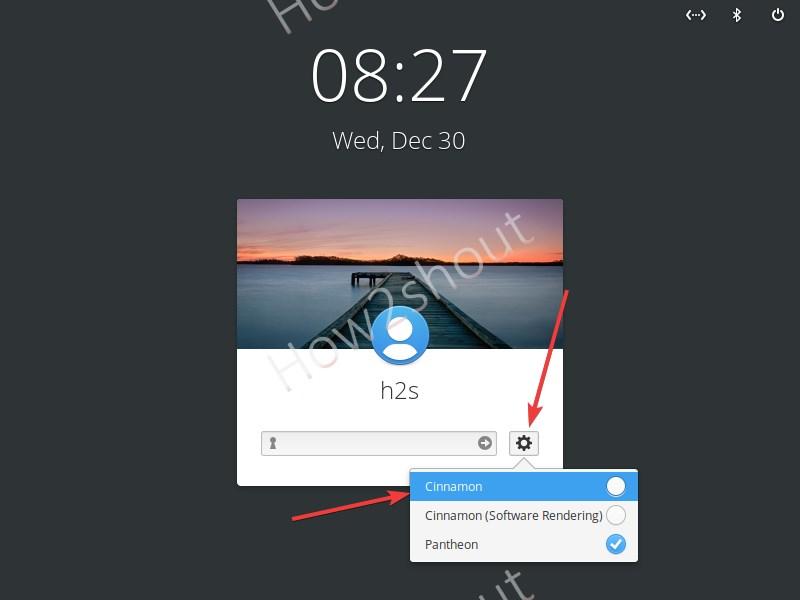 Select Cinnamon desktop on login